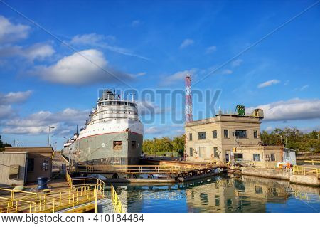 A View Of Lake Freighter Moving Through The Welland Canal In Canada