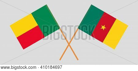 Crossed Flags Of Benin And Cameroon. Official Colors. Correct Proportion. Vector Illustration
