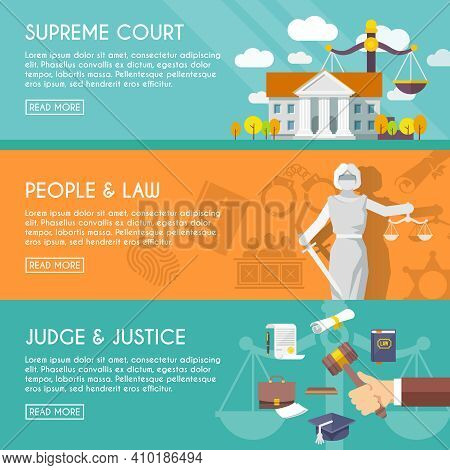 Supreme Court Judge And Blindfolded Justice With Sword And Scales People Law Flat Horizontal Banners