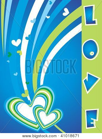Heart Background With Wave And Text