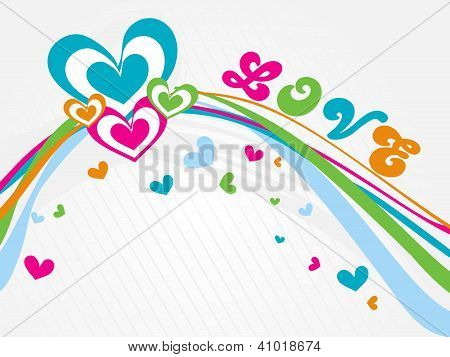 Vector Valentine's Background With Wave