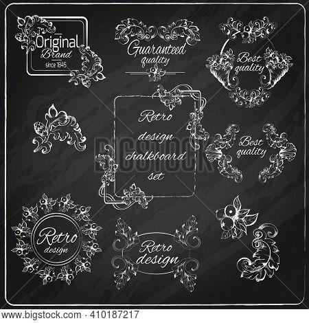Retro Design Original Floral Vintage Emblems Chalkboard Set Isolated Vector Illustration