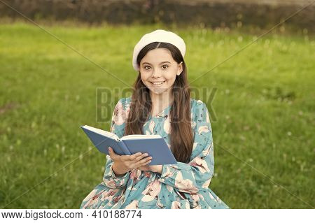 Opening Door To Knowledge. Happy Kid Hold Book Summer Outdoors. Knowledge Day. Back To School. Septe