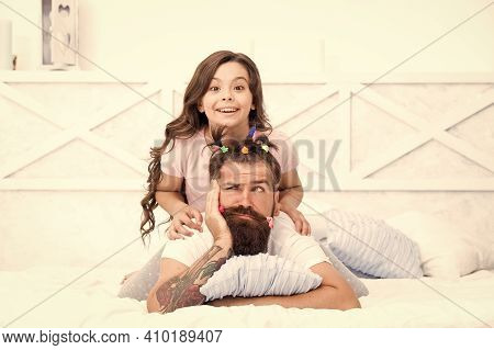 Funny Hairstyle. Compressed Into Boundaries Of Home. Happy Childhood. Relaxing In Bedroom. Girl And
