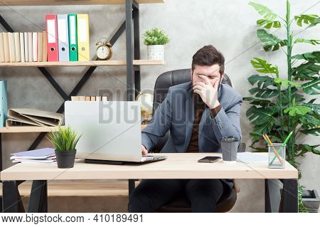 Failed Deal. Falling Stock Prices. Man Bearded Boss Sit Office Laptop. Manager Solving Business Prob