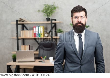 Executive Man. Male Fashion In Business Office. Bearded Man. Mature Hipster With Beard. Businessman