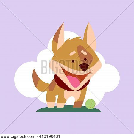 Dog Of Playful Mood, Icon Of Domestic Pet Ready To Play With Someone, Canine Looking In Distance Vec