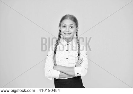 Welcome Back To School. Cute Schoolgirl With Long Hair. Graduation Concept. Primary Education. Perfe