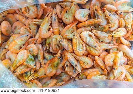 Pink Fresh Frozen Shrimps With Ice In A Supermarket Or Fish Shop. Fresh Frozen Prawns, Delicacies, S