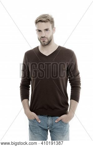 Expressing True Sense Of Personal Style. Blond Man Isolated On White. Handsome Man. Man With Unshave