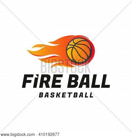 Fire Ball Basketball Logo Designs Concept Vector, Basketball Logo Template