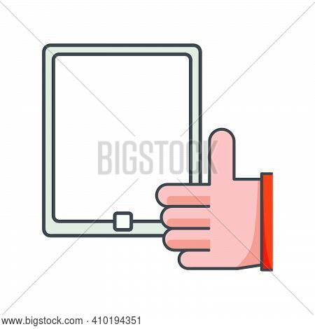 Thumbs Up On Smartphone. Like Icon. Mobile Conection Illustration. Flat Vector Icon. Can Use For, Ic