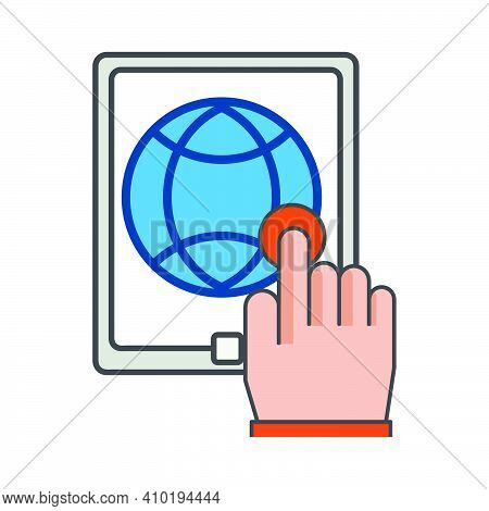 Finger Clicking On Smartphone. Mobile Conection Illustration. Flat Vector Icon. Can Use For, Icon De