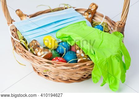 Easter Basket With Medical Face Mask And Latex Rubber Gloves,traditional Festive Holiday In Time Of