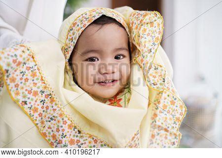Adorable Cute Little Girl Wearing Muslim Hijab