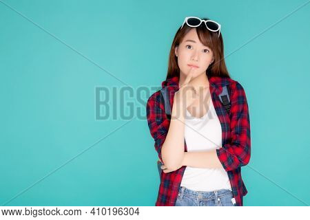 Beautiful Portrait Young Asian Woman Wear Sunglasses On Head Smile Confident Thinking And Idea Summe