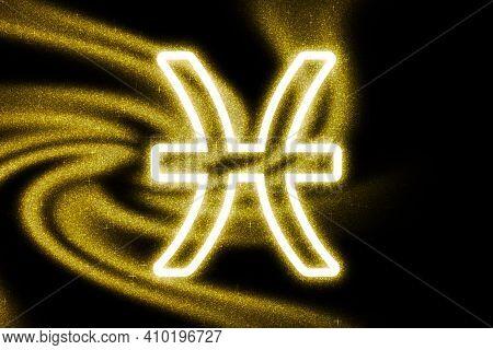 Pisces Zodiac Sign, Gold Glitter, Horoscope Astrology Background, Pisces Horoscope Symbol, On Dark B