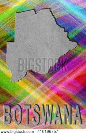 Map Of Botswana, Colorful Background, Copy Space