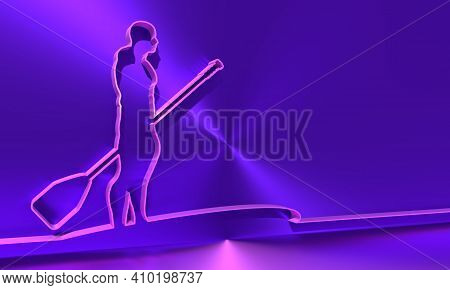 Man Posing With Surfboard And Paddle. Stand Up Paddle Boarding. Thin Line Style. 3d Rendering