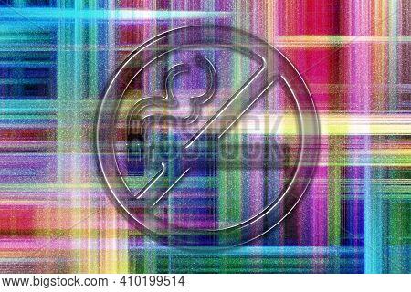 No Smoking Sign, No Smoke Symbol, Colorful Checkered Background