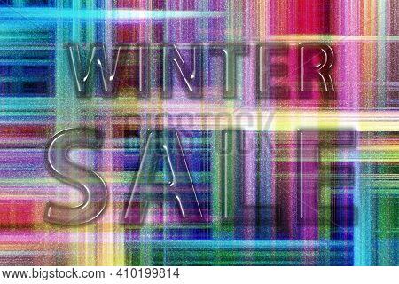 Winter Sale Banner, Winter Season Sale, Colorful Checkered Background