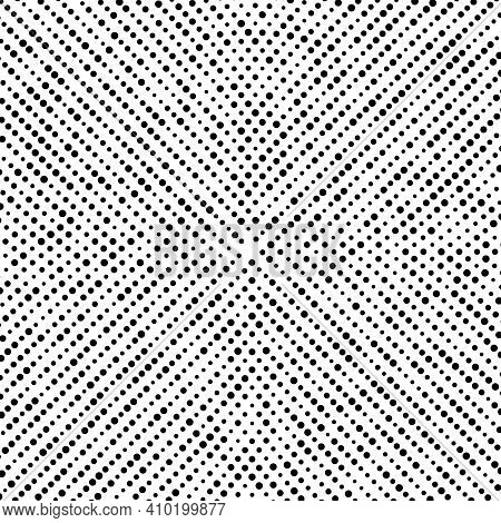 Pop Art Dots Background. Geometric Vintage Monochrome Fade Wallpaper. Halftone Black And White Geome