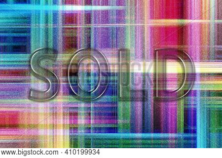 Sold Sign. Sold Banner, Sold Sticker, Colorful Checkered Background