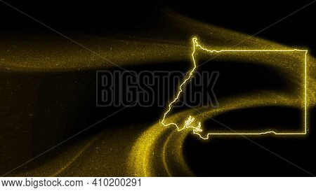 Map Of Equatorial Guinea, Gold Glitter Map On Dark Background