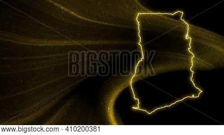 Map Of Ghana, Gold Glitter Map On Dark Background
