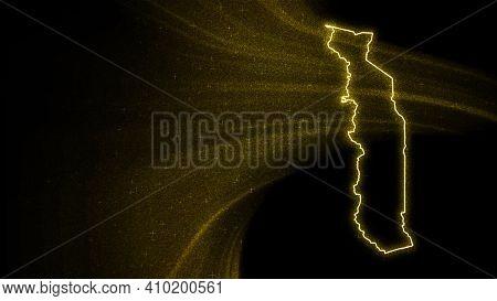 Map Of Togo, Gold Glitter Map On Dark Background