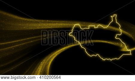Map Of South Sudan, Gold Glitter Map On Dark Background