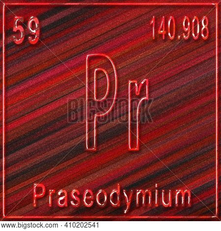 Praseodymium Chemical Element, Sign With Atomic Number And Atomic Weight, Periodic Table Element