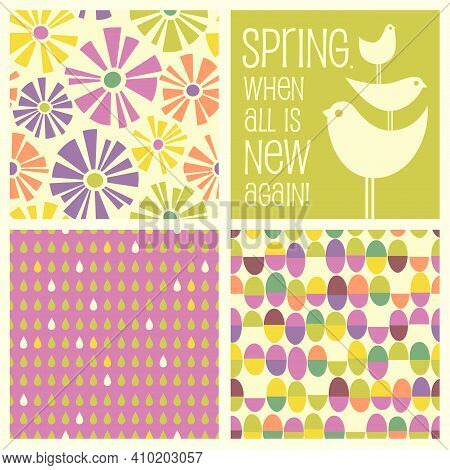 Set Of Retro Spring Designs And Seamless Patterns Including Daisies, Birds, Easter Eggs, Raindrops.