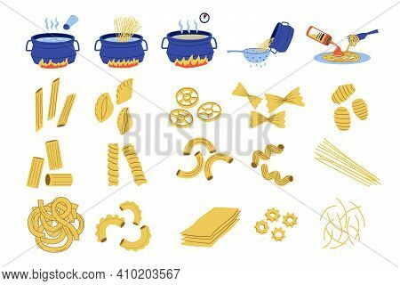 Pasta Cook. Doodle Recipe Of Spaghetti, Steps Cooking Guide With Boiling Water And Adding Sauce. Tra