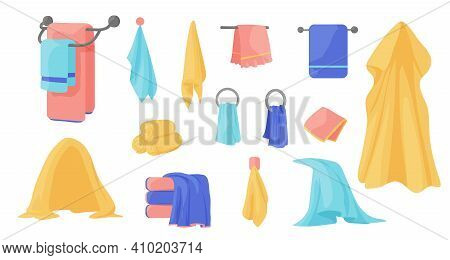 Towels. Cartoon Terry Cloth Hanging On Holder, Rolled Napkin And Handkerchief In Stack. Kitchen Or B