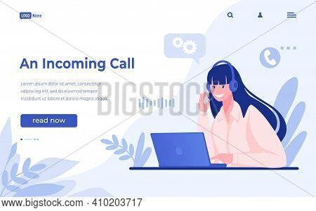 Customer Support Landing Page. Call Center And Hotline Concept. Ask Questions To Corporate Assistanc