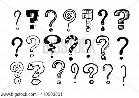 Question Marks. Doodle Hand Drawn Isolated Set Of Interrogation Signs, Graphic Inky Punctuation Icon
