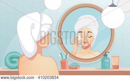 Girl Skin Care. Cartoon Beautiful Girl In Bathroom Cleaning Her Face Skin And Using Night Lotion. Mi