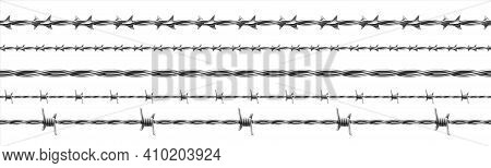Barbed Wire. Realistic Seamless Barbwire Fence. Military Border Of Curved Steel. Iron Protective Con
