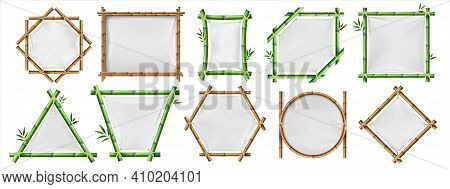 Bamboo Banners. Realistic Wooden Frames With White Textile, 3d Blank Japanese Posters With Copy Spac