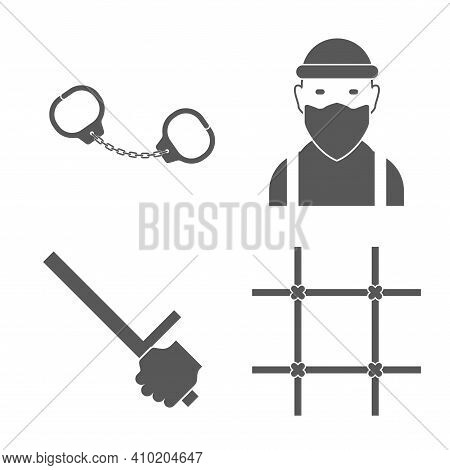 Crime, Criminal Icon Set. Criminal, Handcuffs, Police Baton, Prison Bars. Flat Vector Illustration I