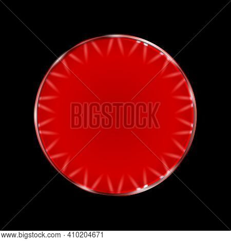 Round Red Light Metal Frame With Light Bulbs. 3d Vector Illustration Isolated On Black Background.