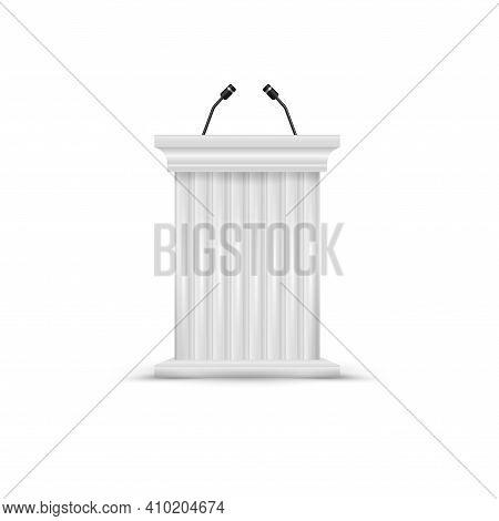 Antique Column Pulpit. White Podium Tribune With Microphones. Blank Rostrum Stand. 3d Vector Illustr