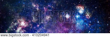 Science Fiction Fantasy In High Resolution Ideal For Wallpaper.stars Of A Planet And Galaxy In A Fre