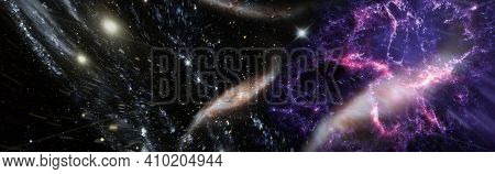 Planets, Stars And Galaxies In Outer Space Showing The Beauty Of Space Exploration. Elements Furnish
