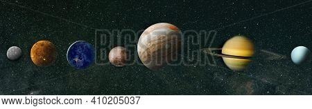 Sun, Mercury, Venus, Planet Earth, Mars, Jupiter, Saturn, Uranus, Neptune. Solar System Planet, Come