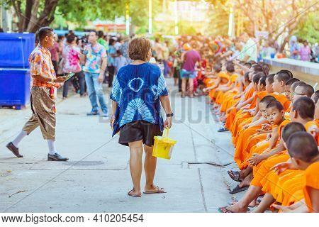 Kanchanaburi-thailand, April 17,2019: Buddhist Novice Watering Ceremony For Songkran Festival In Bud