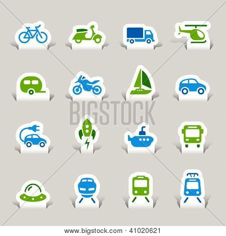 Paper Cut - Transportation icons