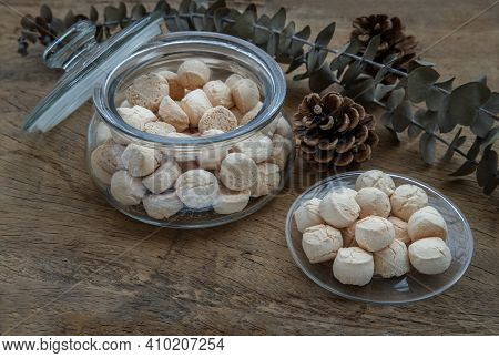 A Type Of Thai Traditional Dessert Consisting Of Many Small, Made From Flour, Egg, Coconut Milk And