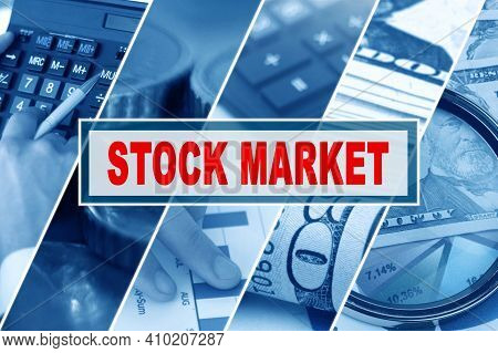 Business And Finance Concept. Collage Of Photos, Business Theme, Inscription In The Middle - Stock M